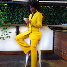 Office lady working suits Custom made blazer women yellow Triple Breasted ladies business suit