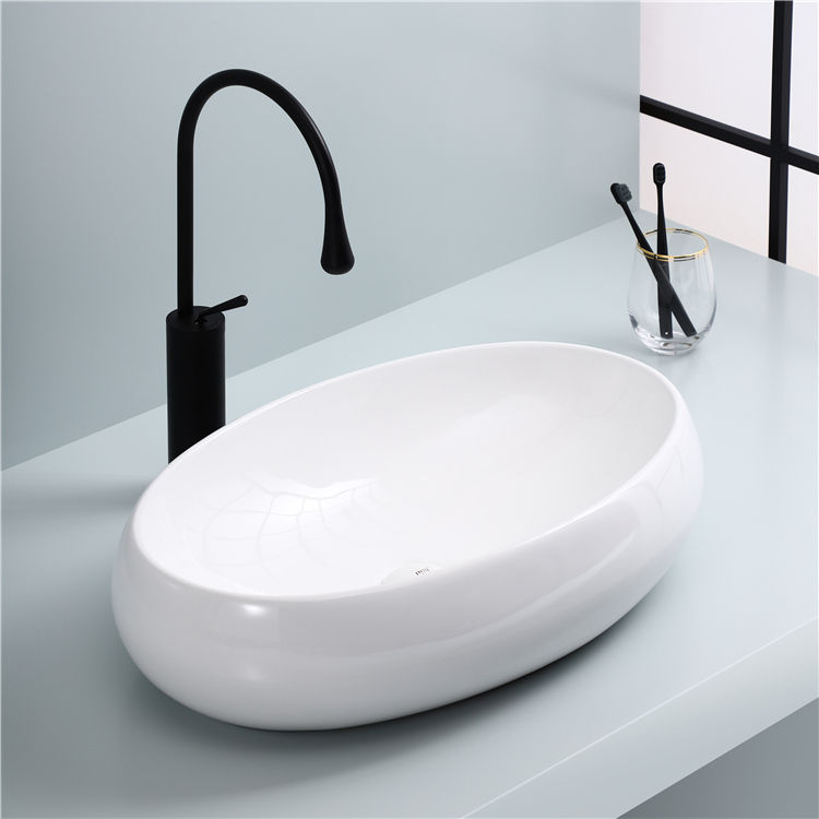 Wholesale modern bathroom vanity fashion oval ceramic above counter basin