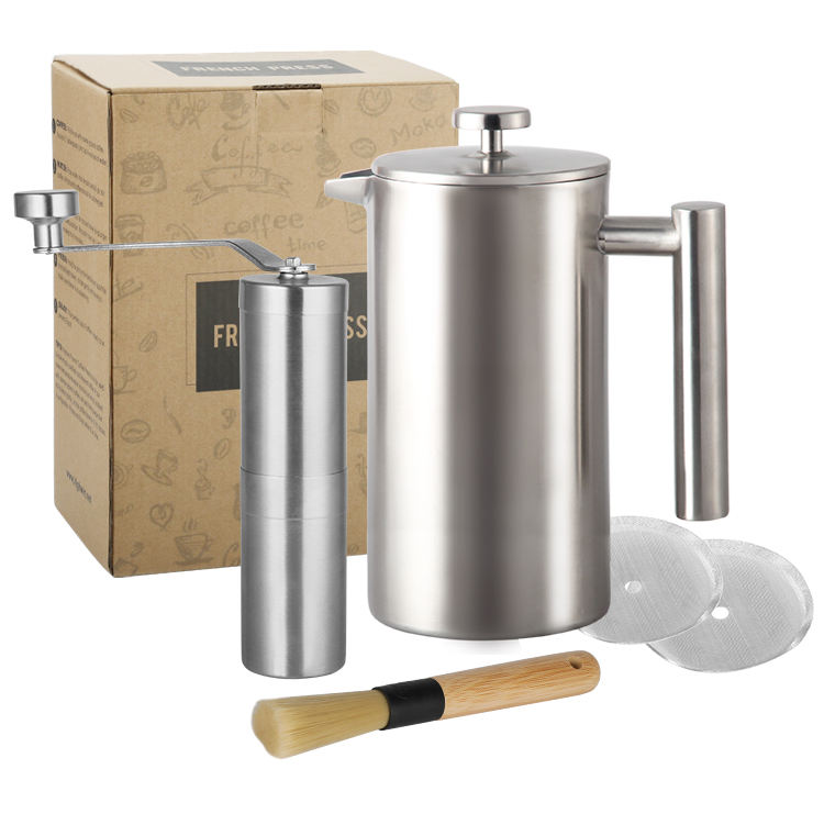 Amazon hot sale stainless steel satin finished double wall french coffee press