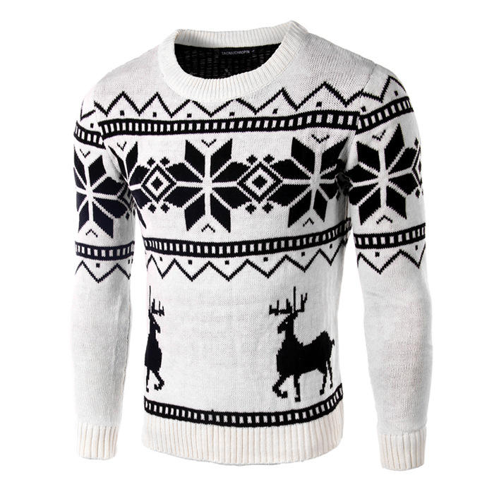 wholesale high end design round neck cozy soft mens christmas knitted sweater