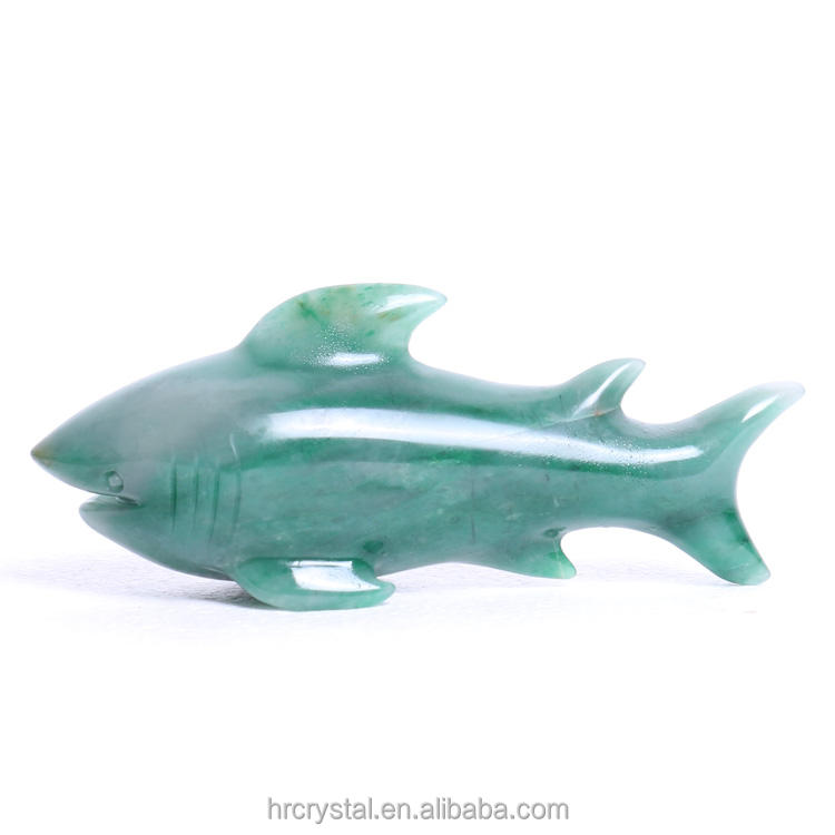 Wholesale Natural hand caved green aventurine shark carvings