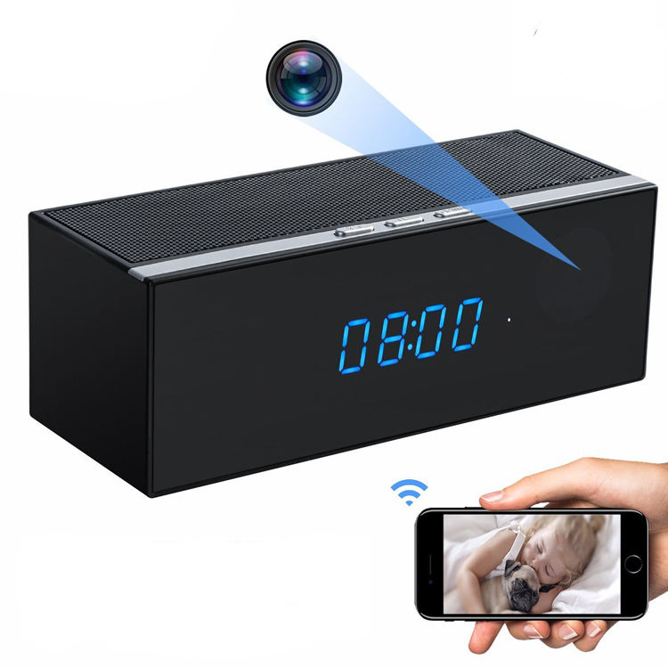 HD Remote Controller hidden Wifi Clock Camera, Wifi Spy Clock Bluetooth Speaker Mini Wifi Camera