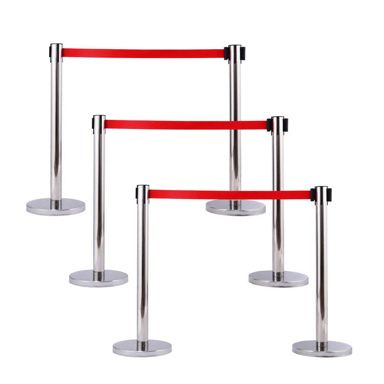 Retractable belt stainless steel stanchion queue posts for crowd control