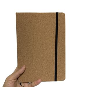 Customized Logo Eco-Friendly Hard Cover A5 Cork notebook note pads with elastic string
