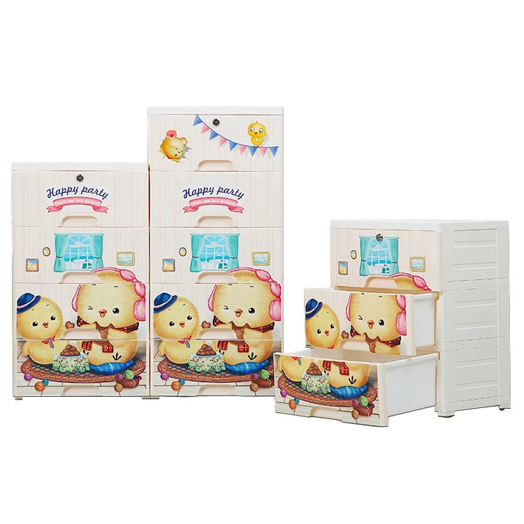 Cartoon Multi-layer Plastic Baby Drawer Storage Cabinet With Lock 3 4 5 Layers