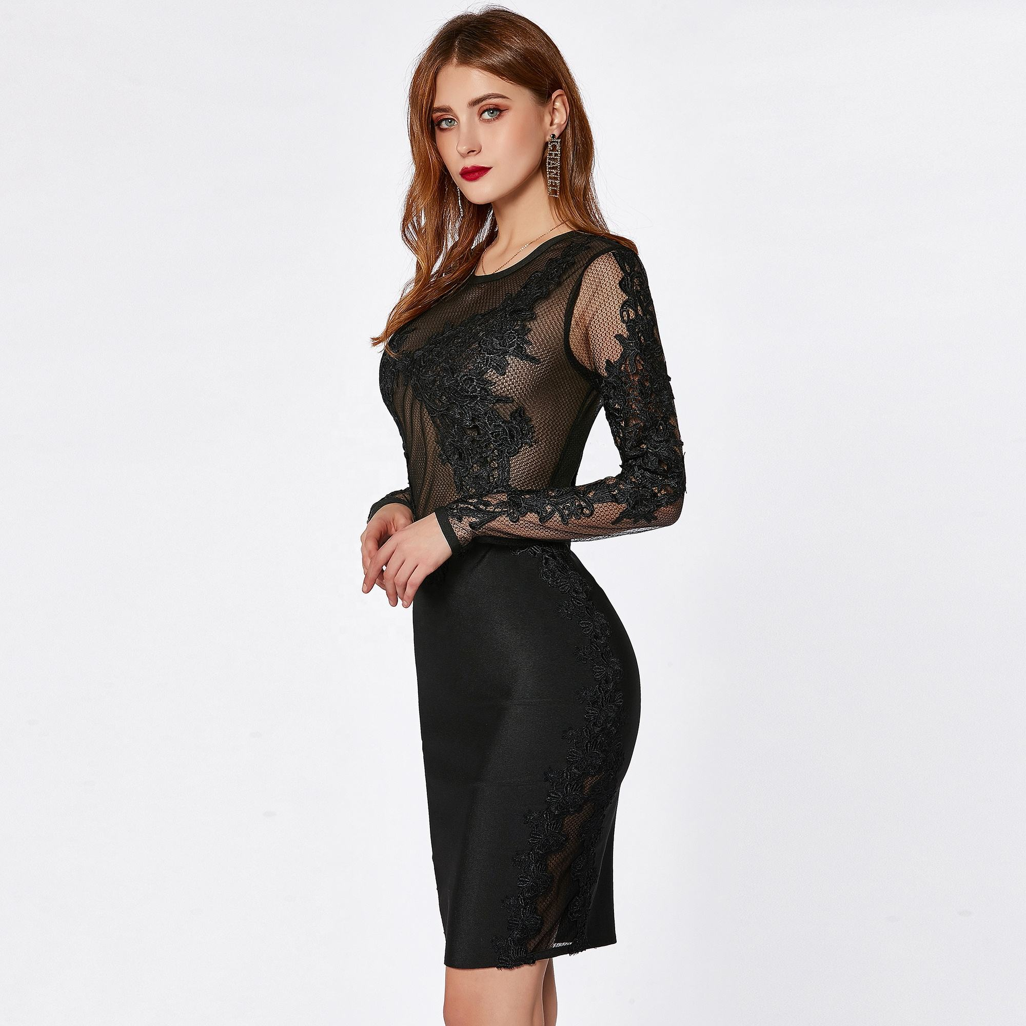 2020 Factory custom women see through mesh lace long sleeve elegent black evening party sexy bodycon bandage dress