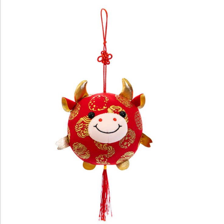 10/16/22CM newly designed cute animal cartoon stuffed cotton plush ball cattle ox mascot gift pendant with printed design