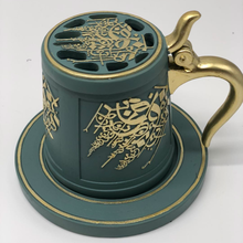 Mug shape resin arabic incense burner with mixed color