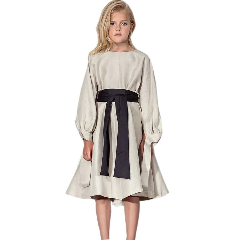 Newest fashion long sleeves tied A big bow Khaki dress for girls 4-16Y