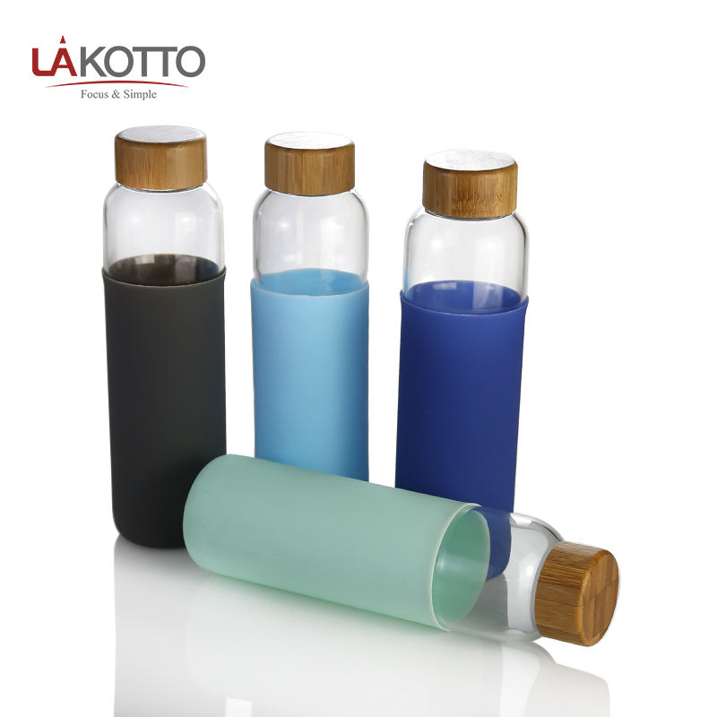 colorful glass water bottle with Sleeves Leak Proof portable glass bottle