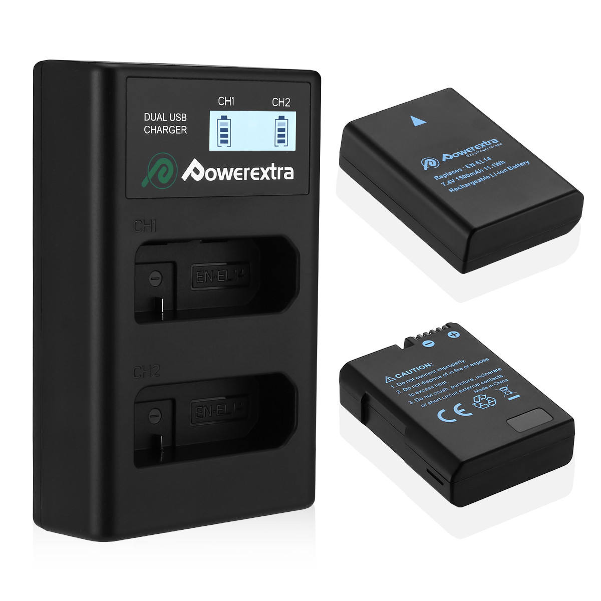 Powerextra 2Packs 7.4V replacement EN-EL14 EN-EL14a Camera battery With LCD USB Charger
