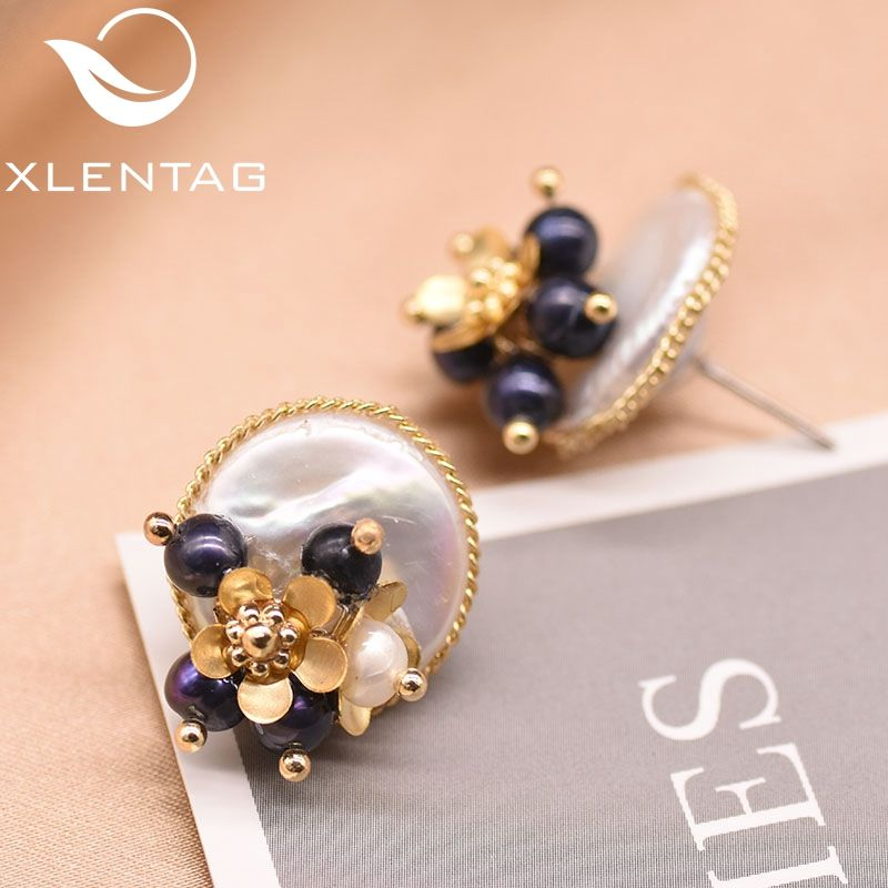 XlentAg Handmade Natural Baroque Flat Pearl Earrings For Women Wedding Party Flower Stud Earrings Luxury Fine Jewellery