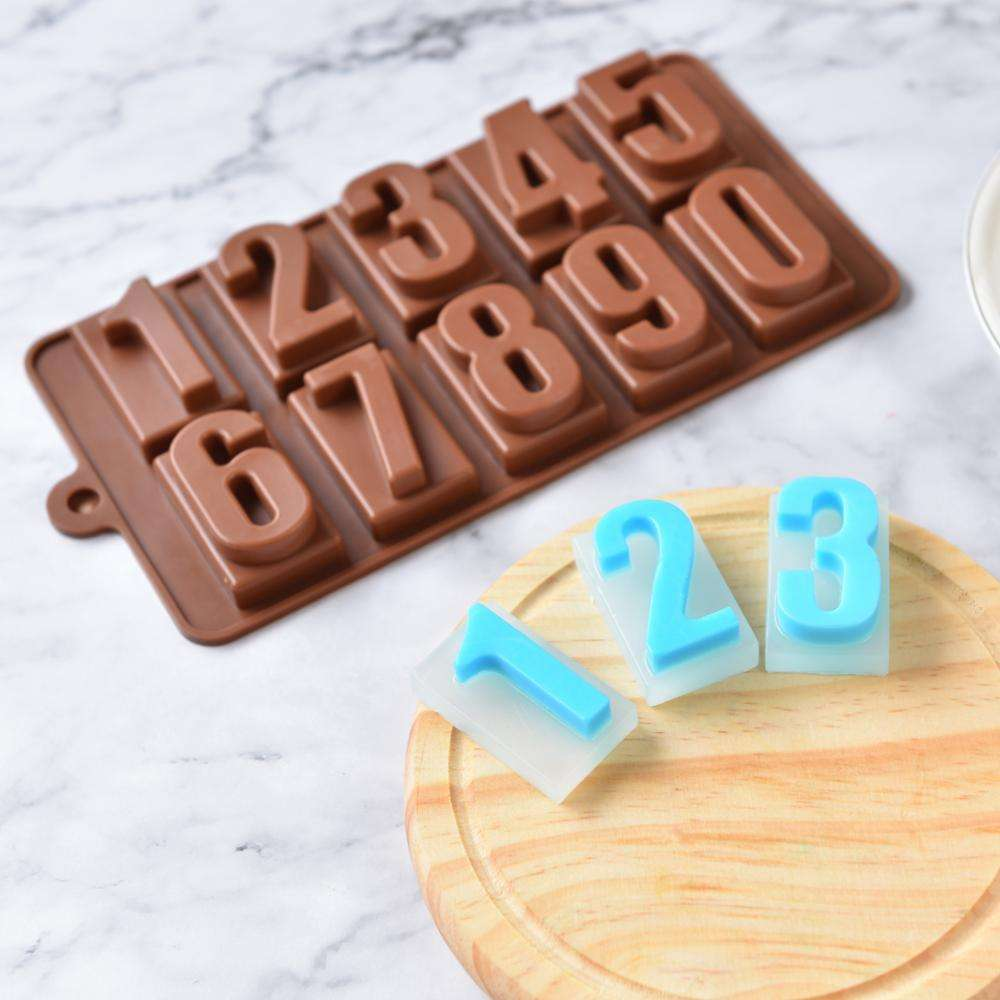 BPA FREE 10 Cavities Number Soap Molds Silicone Rectangle Handmade Muffin Fondant Chocolate Candy Birthday Moulds
