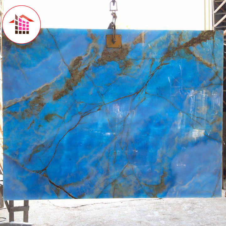Premium pakistan natural cheap price translucent blue stone marble onyx for tile and wall panel