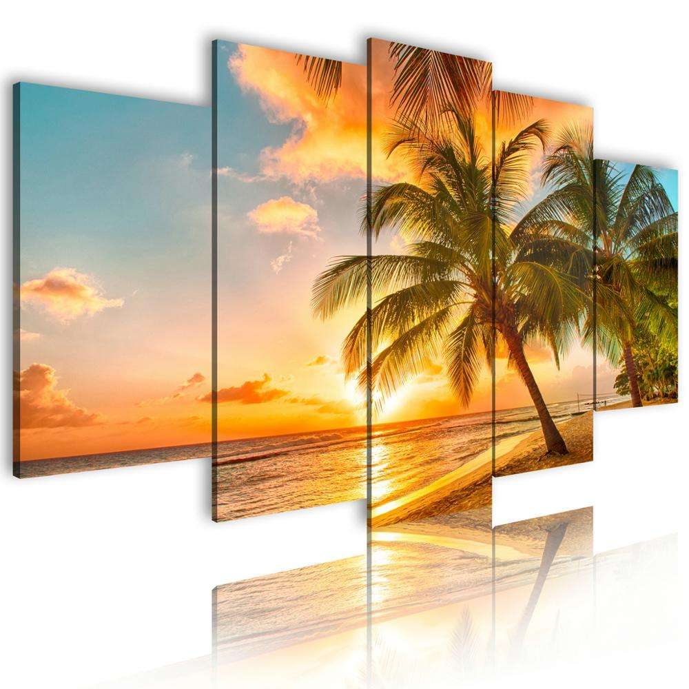 Canvas Wall Beach Modern Art Set 5 Piece Poster Oil Paintings Scenery Beautiful Drawing Decor Living Room Painting