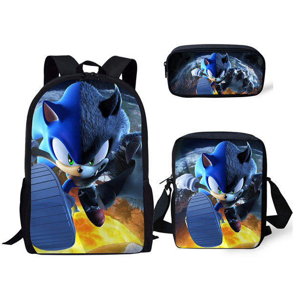 Fashion 3PC/Set Backpack Hot Game Sonic 4 The Hedgehog Pattern Students School Bags Cartoon Anime Teenagers Book-Bags Set