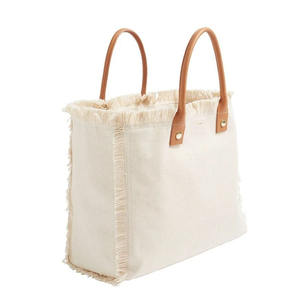 Fashionable Canvas With Genuine Leather Handle Tote Bag Cotton Handbags For Ladies