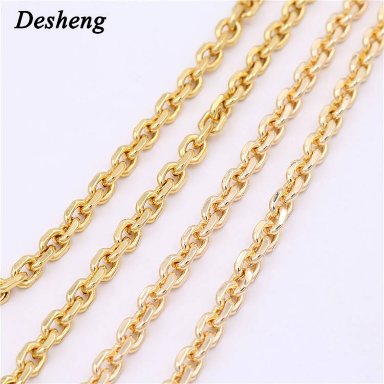 Wholesale High Quality Color Metal Bag Chain Handle for Handbag Purse Cutting Face Solid Brass Material Key Chains