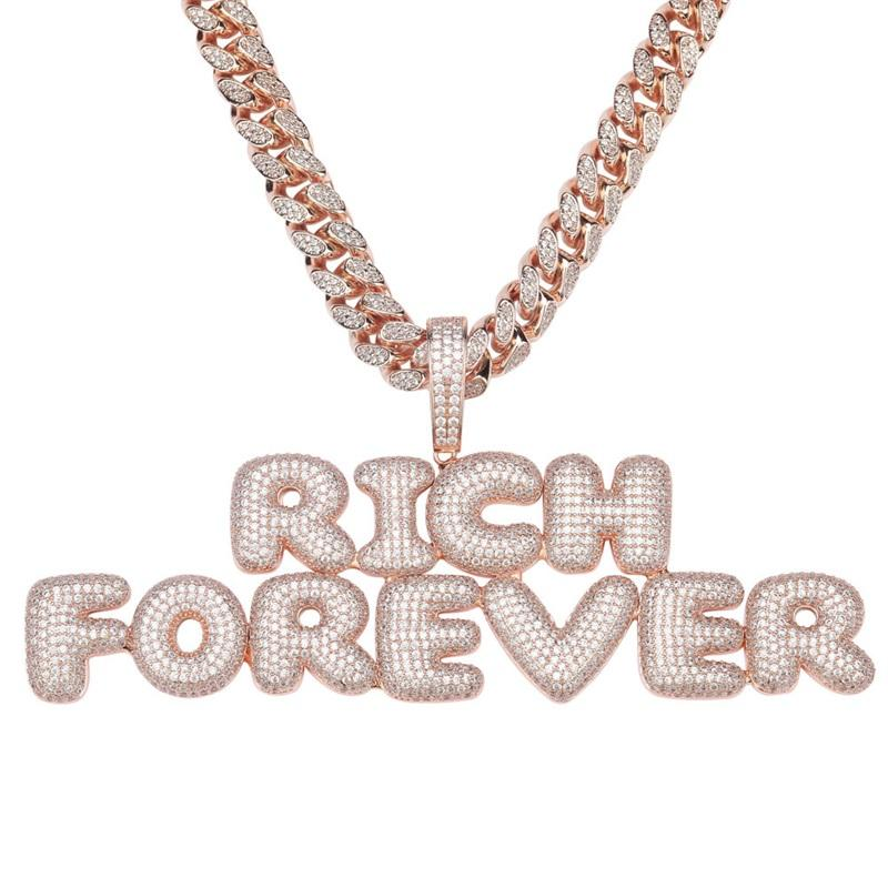 Custom Name Bubble Letters Necklaces Pendant Chain For Men Women Gold Silver Color Cubic Zircon Hip Hop Jewelry Gifts