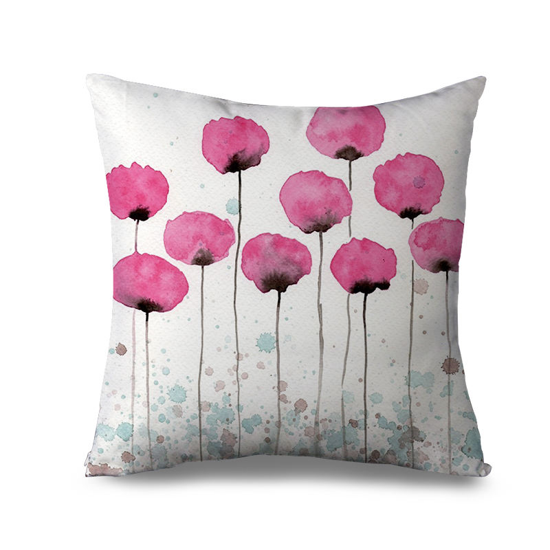 Beautiful floral Printed design pillow case, White pink with Yellow Botanical Flowers Green Leaves throw pillow cover