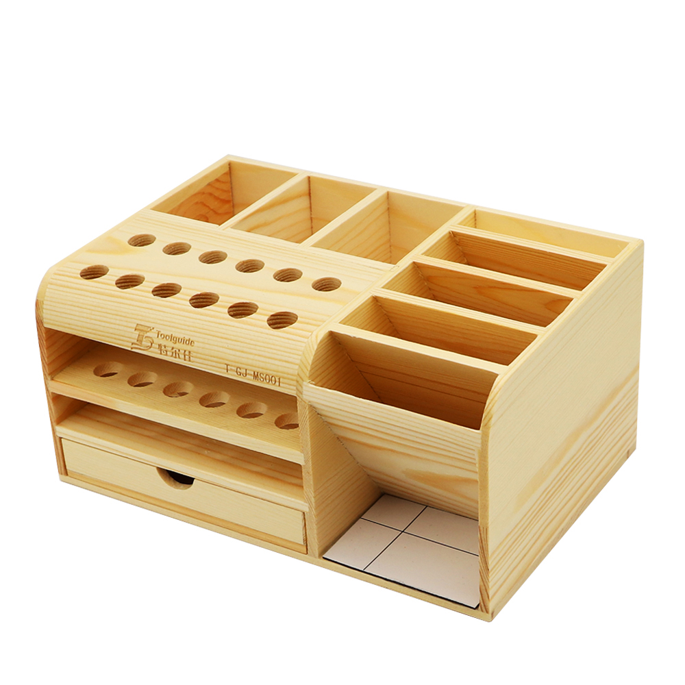 Toolguide multifunctional screwdriver storage box, wooden container box for small tools table clutter and parts