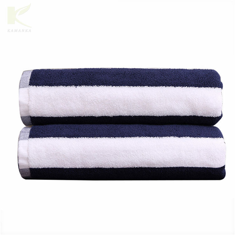 manufacturers price bulk fabric extra expanding towel 32s embroidered stripe cotton beach bath towel