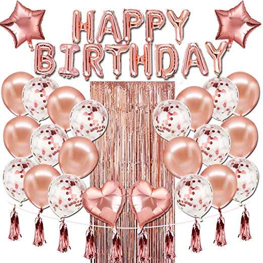 Happy Birthday Party Supplies Party Decorations Happy Birthday Banner Balloons Rose Gold Party Decorations