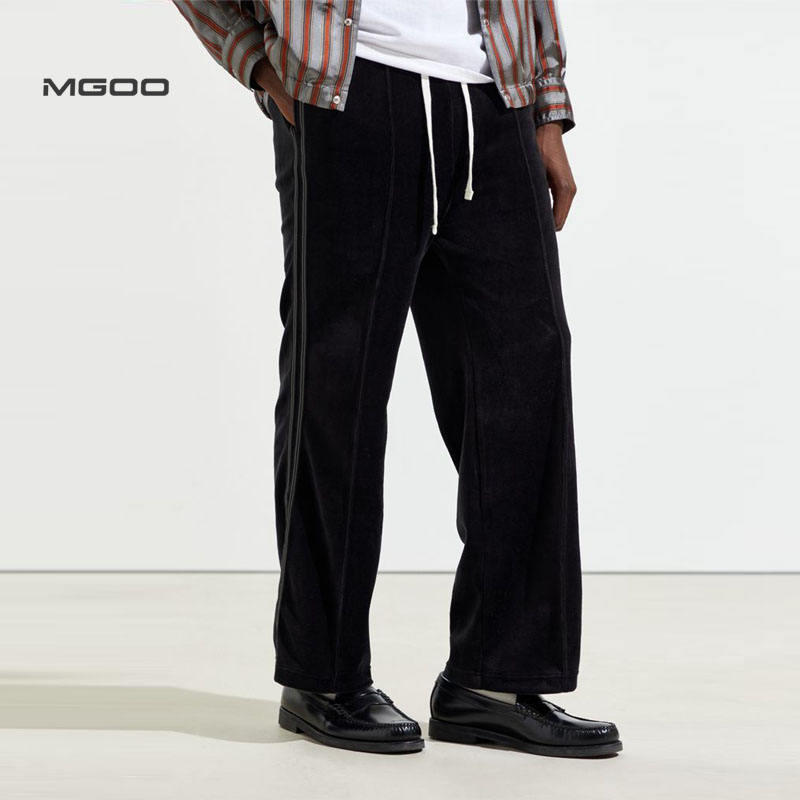 MGOO Customized velour line trouser No printing black men long pants