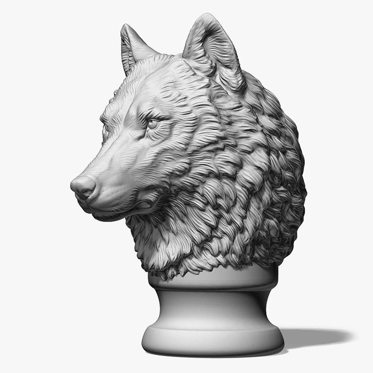 Custom Design Animal Head Statue Stainless Steel Polyresin Resin Wolf Head Sculpture