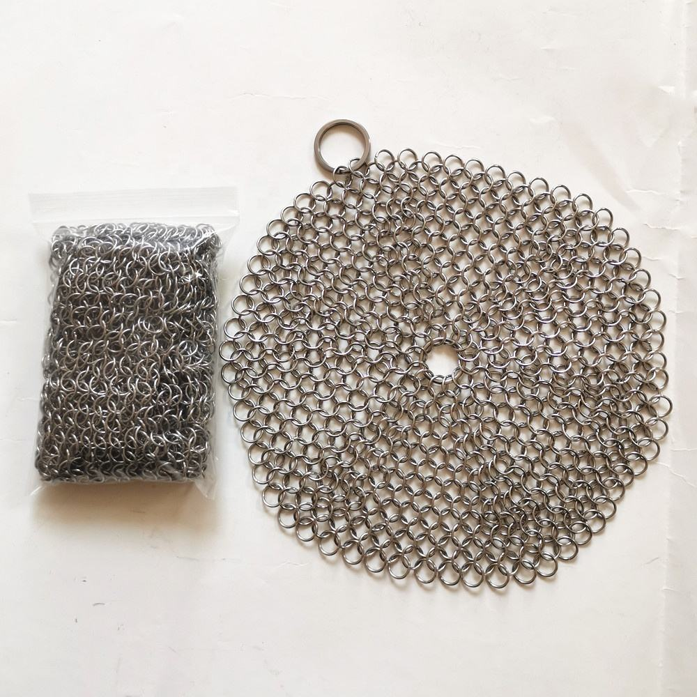 Rvs 304, 316 Chain Mail Ring <span class=keywords><strong>Scrubber</strong></span>, Gietijzeren Pan Cleaner