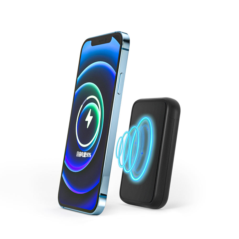 ASPIRER 5000 mAh portable mobile charger QI wireless Power bank with magnetic holder for Phone 12 pro max