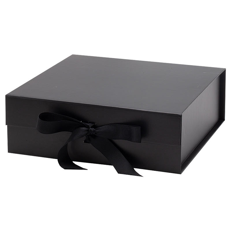 Wholesale ribbon tie style common packaging black magnetic close gift box