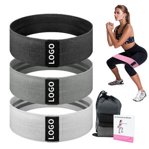 Custom Logo Print 3 Cotton Fabric Hip Booty bands Set fitness fabric resistance Bands