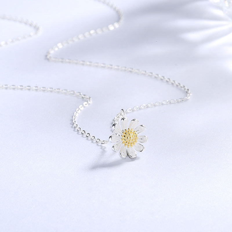 New Design Fashion Jewelry 925 Sterling Silver Sun Flower Necklace