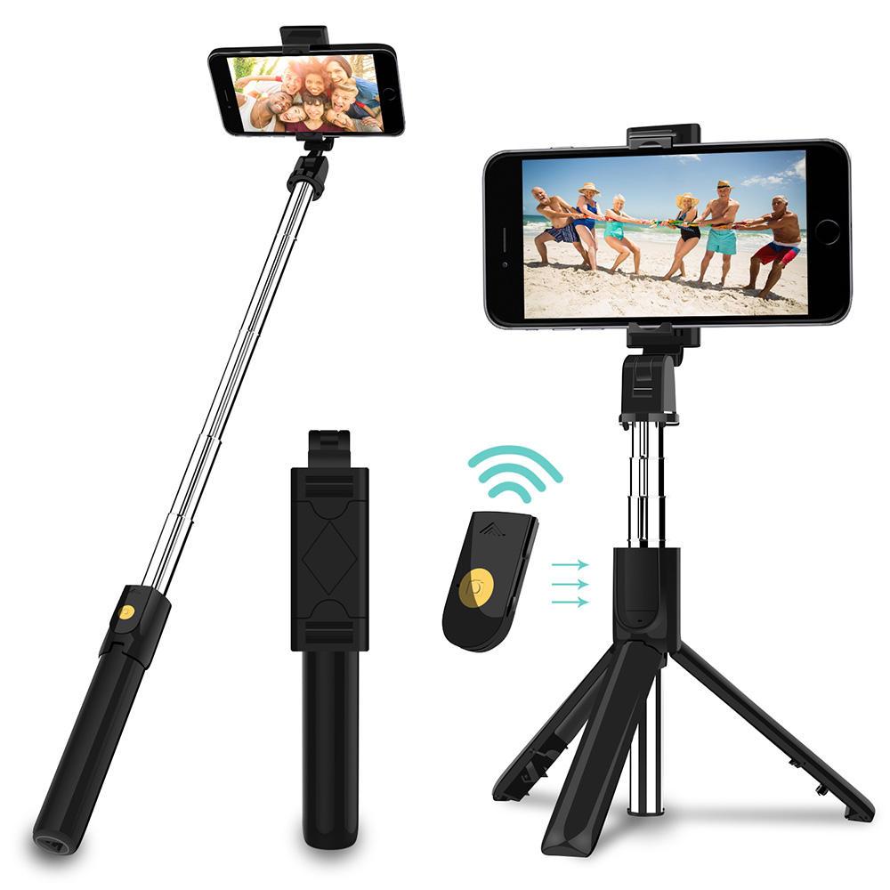 Compact Lightweight Outdoor Portable Selfie Video Video Shooting Floor Tripod 2.1 Meters Black