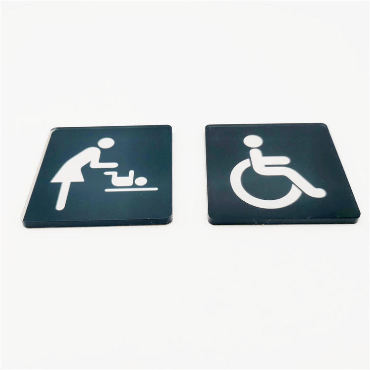 Custom Cut Acrylic Sign Indoor Acrylic Toilet Sign For Shopping Mall and Motel