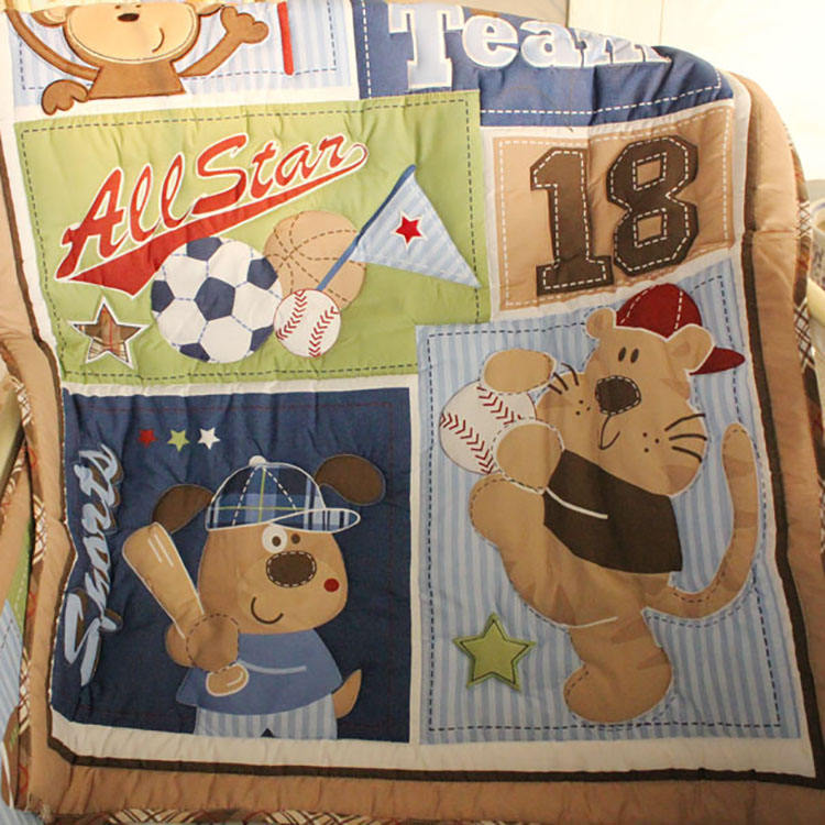 Eco-friendly factory supply 9 pcs baby boy sports cot bedding set