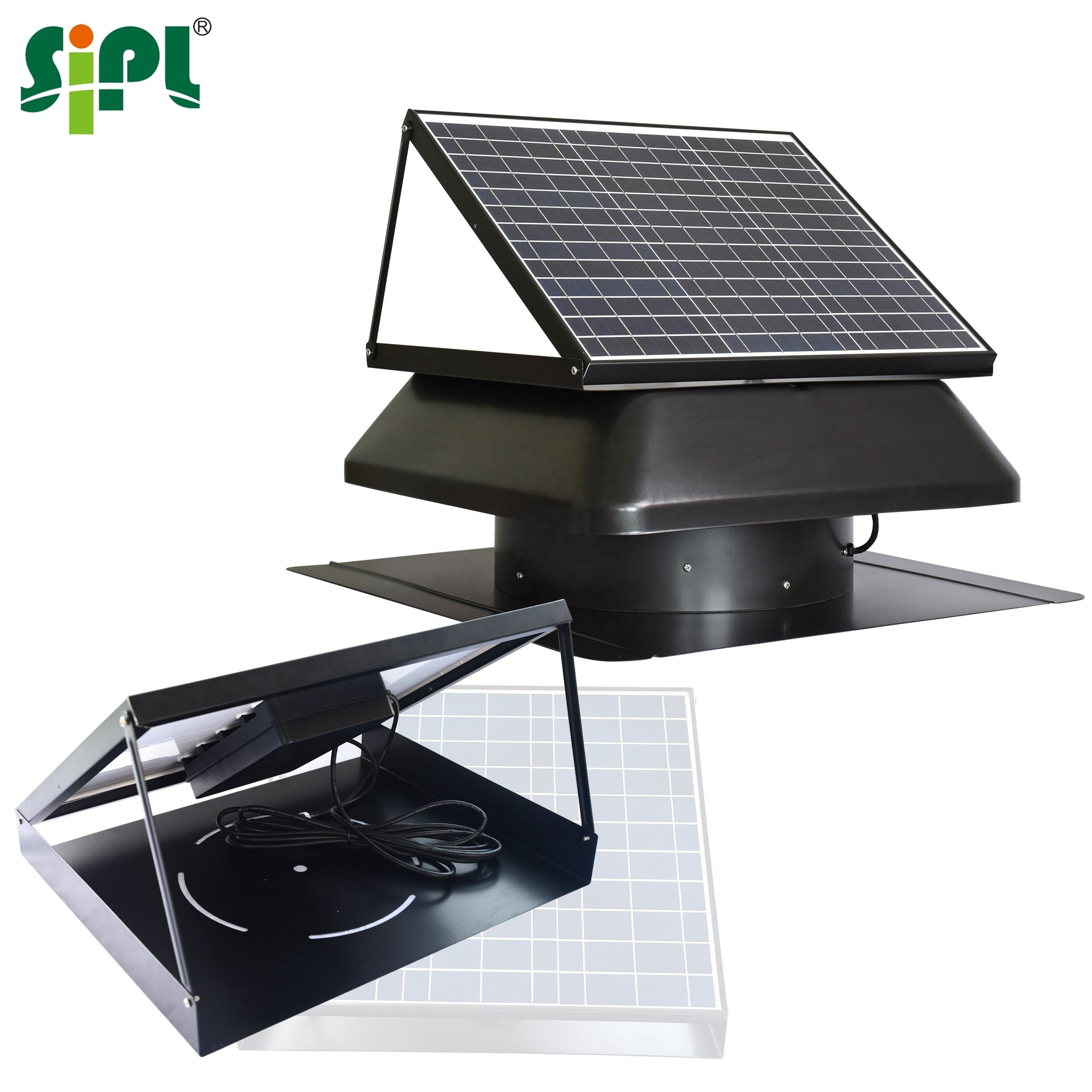 Roof Top Fire Resistant Air Conditioner Industrial Heat Exhaust Tooling Solar Panel Battery Vent DC Air Ventilation Attic Fan