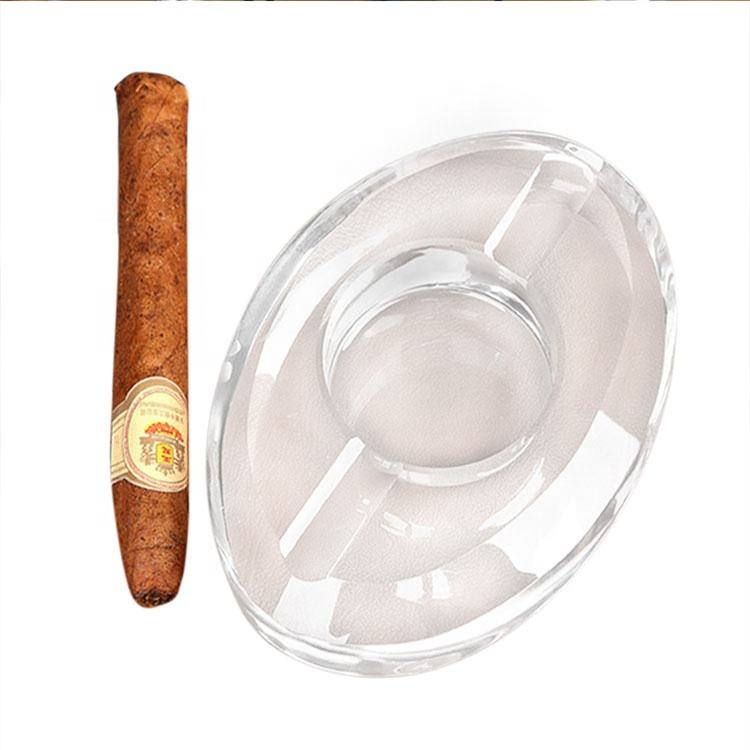 custom cigar ashtray large oval-shaped crystal cigarette ashtray for office use
