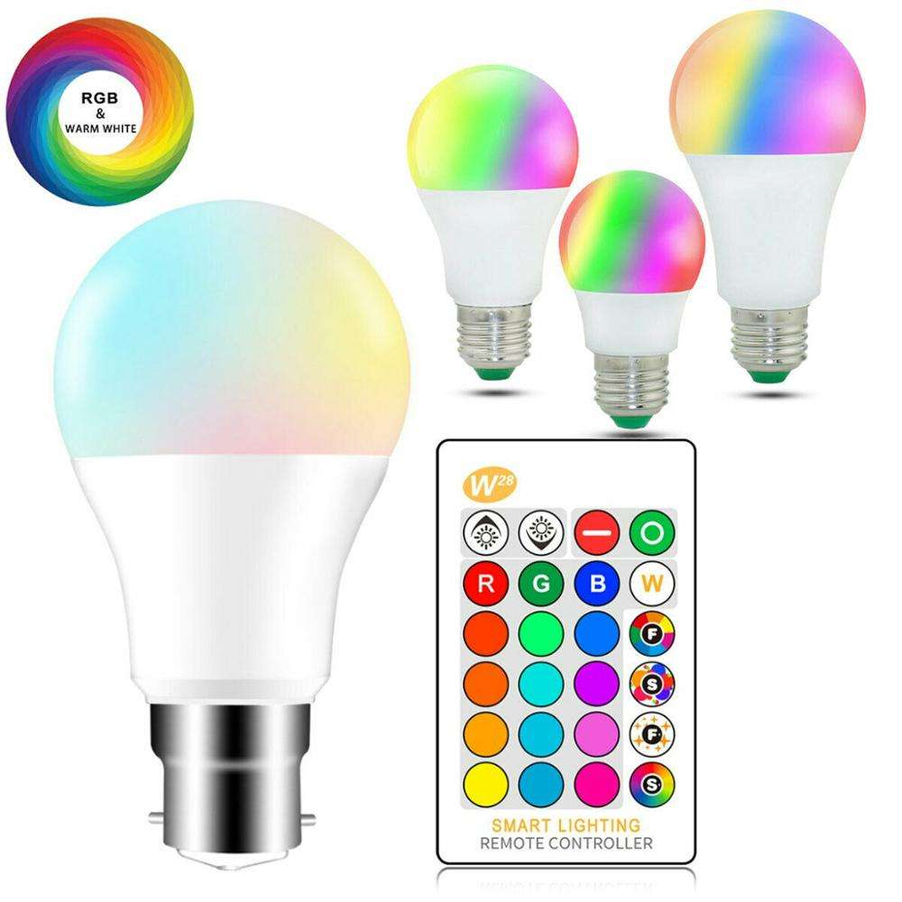 Lámpara mágica que cambia de Color, 5W, 10W, 15W, E27 B22 RGB, bombilla LED inteligente regulable + Control remoto IR