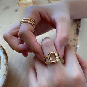 Rings Vintage Ringsvintage Ring 925 Sterling Silver Gold Silver Color Chunky Chain Rings Link Twisted Geometric Rings Vintage Open Rings For Women