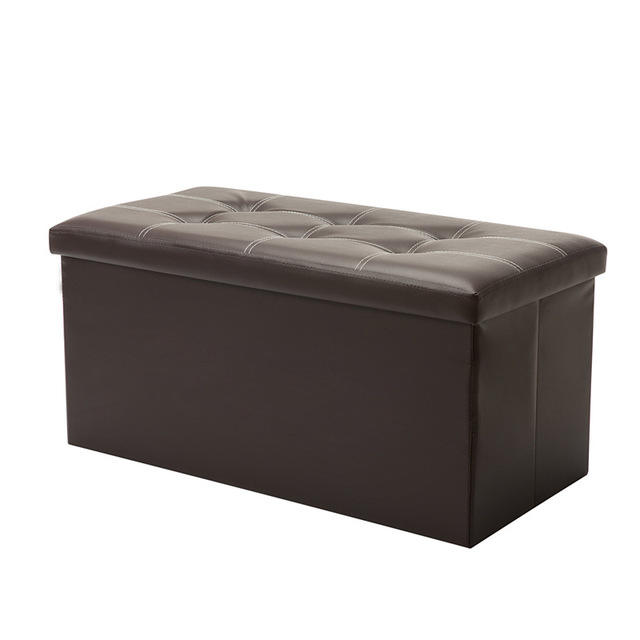 Factory Wholesale PU Leather ottoman stool bench Household Storage folding stool