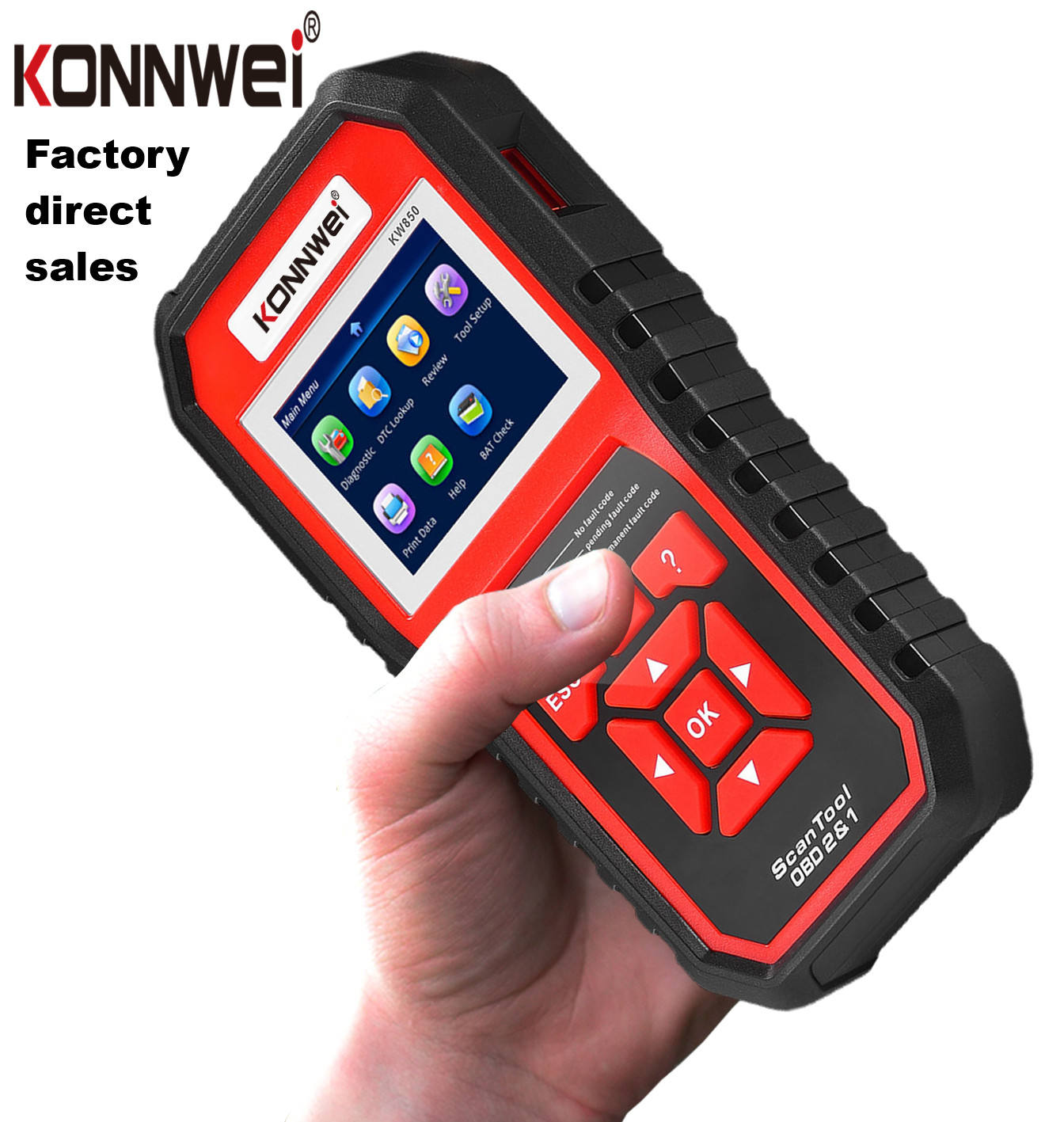 KW850 konnwei Factory diagnostic tools 16pin Handheld OBD2 Auto Car Diagnostic Scanner for all 12V car obd2 scanner