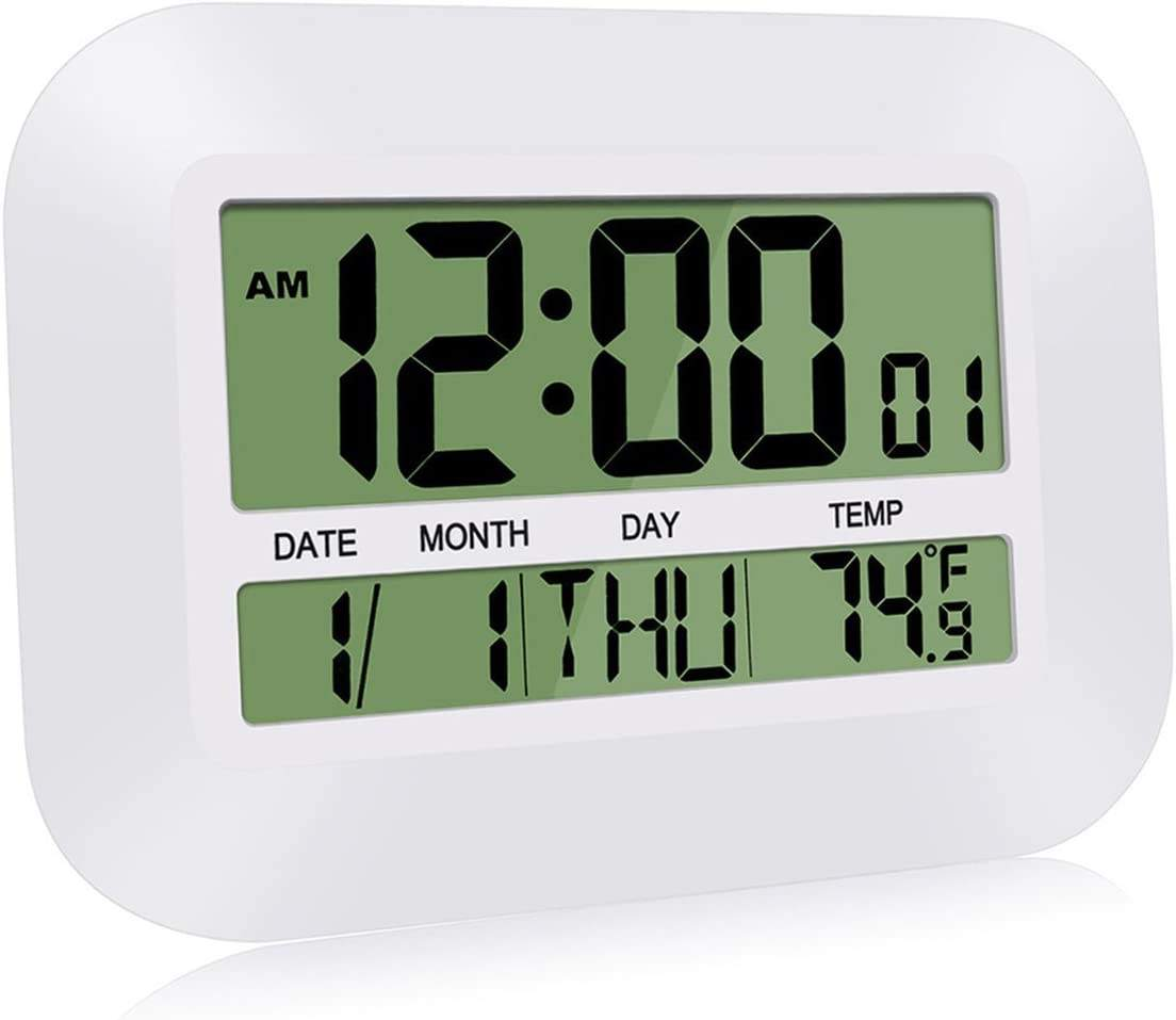Large LCD Alarm Clock Digital Wall Clock Simple Desk Clocks with Temperature Calendar for Home Office