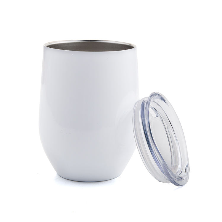 Custom Stainless Steel Stemless Wine Tumbler With Lid and Reusable Straw Bev Steel- 12 oz