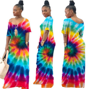 Summer evening Printed loose dress colorful women long tie dye maxi dress