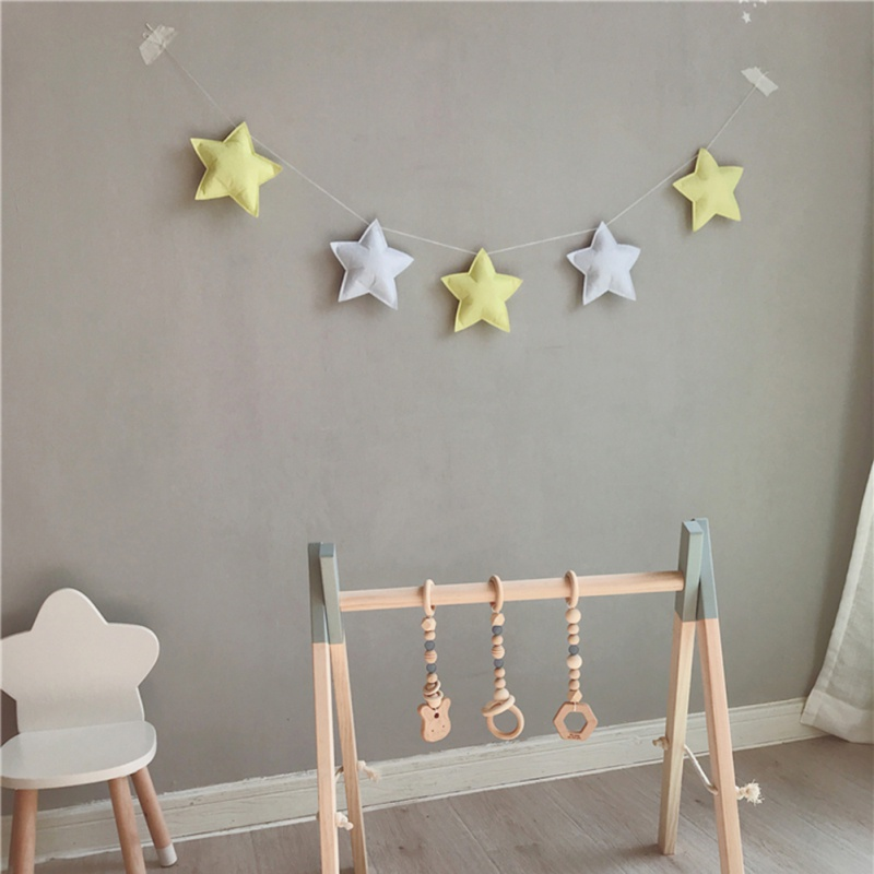 Nordic New stars cloth string hanging ornaments baby children room photo studio decoration tent matching