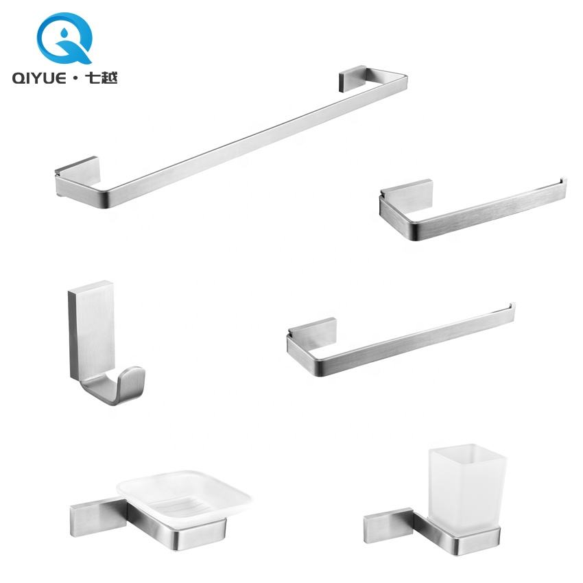 Modern 6pcs wall mounted brushed nickel stainless steel 304 bathroom accessories set for bath