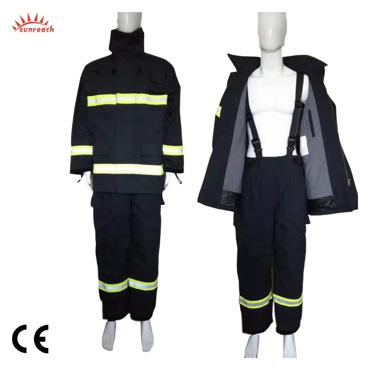 CE Certified Fireman EN469 Rescue Flame Retardant Nomex Fire Fighting Suit for Fire Fighters