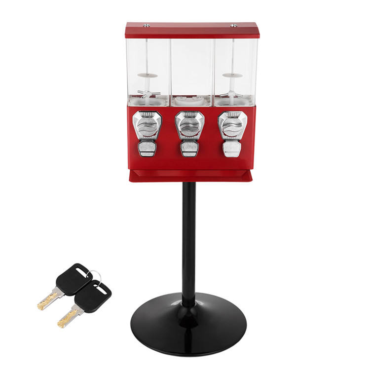 Wholesale Triple candy gumball vending machine stand toy capsule vending machine